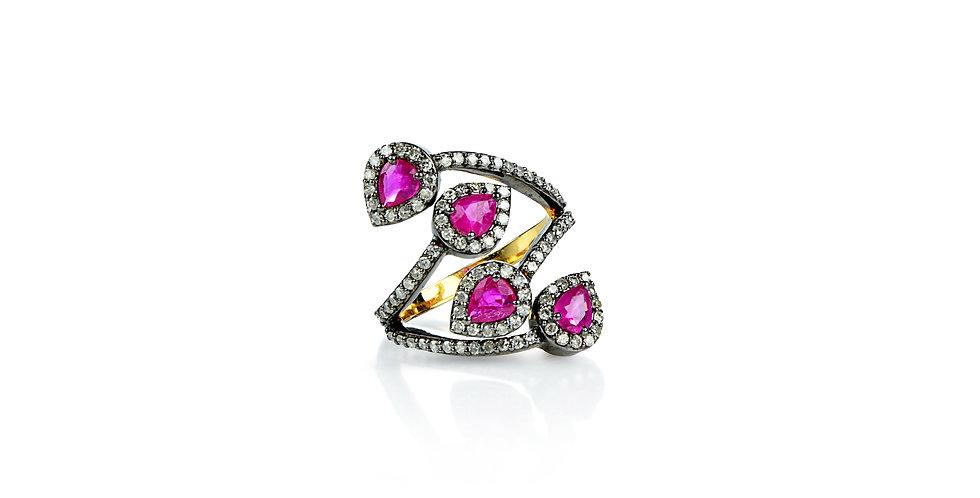 Rubies & Single Cut Diamond Ring in 18K Gold & Sterling Silver
