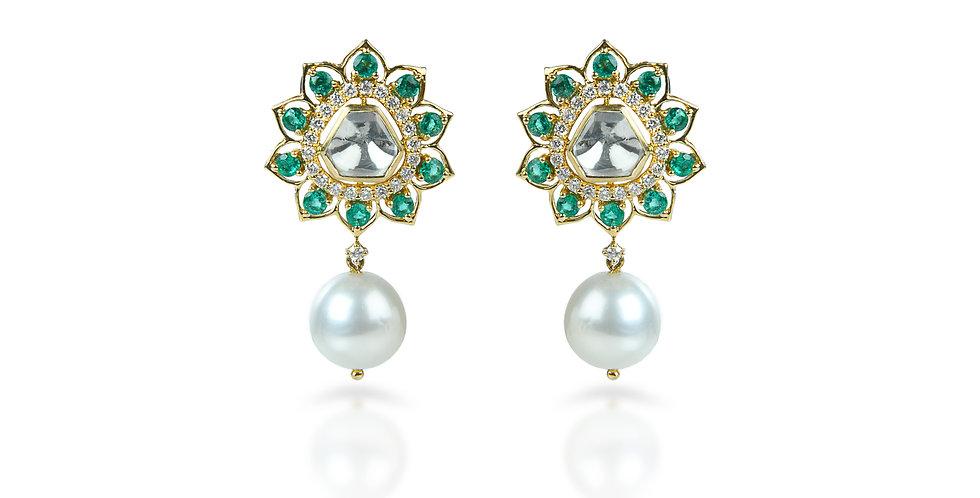 Diamond, Emerald, &  South Sea Pearl Earrings in 18K Gold