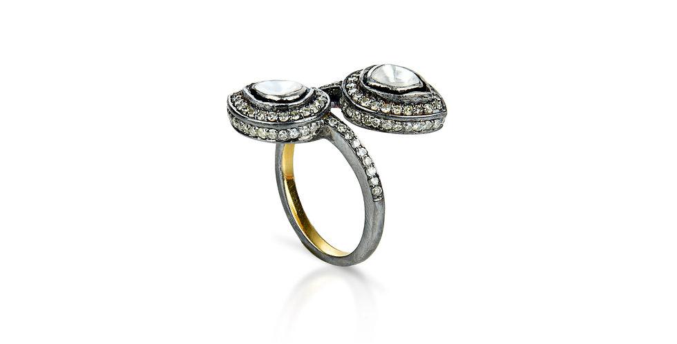 Art Deco Single Cut & Uncut Diamond Ring in 18K Gold & Sterling Silver
