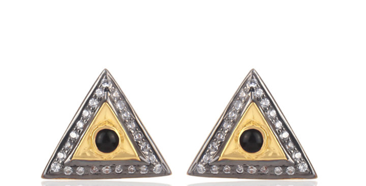 Stering Silver Studs with Gold Plating, Cubic Zirconia, & Black Onyx