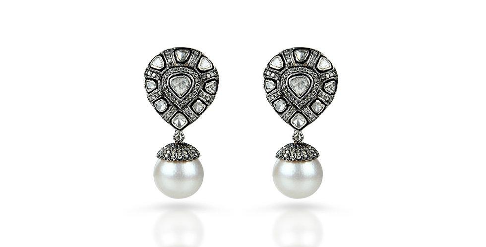 Art Deco Diamond &  South Sea Pearl Earrings in 18K Gold & Sterling Silver