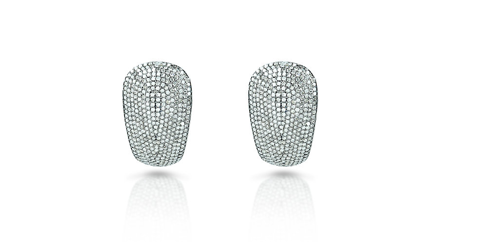 Diamond Oval Studs in 18K Gold & Sterling Silver