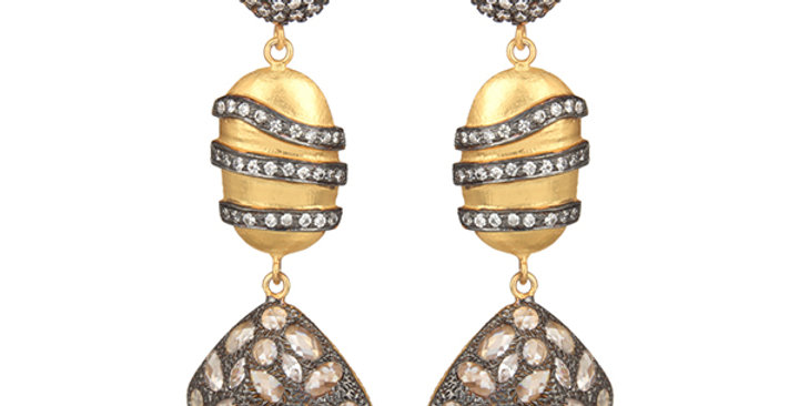 Sterling Silver Mosaic Dangling Earrings with Zirconia & Gold Plating