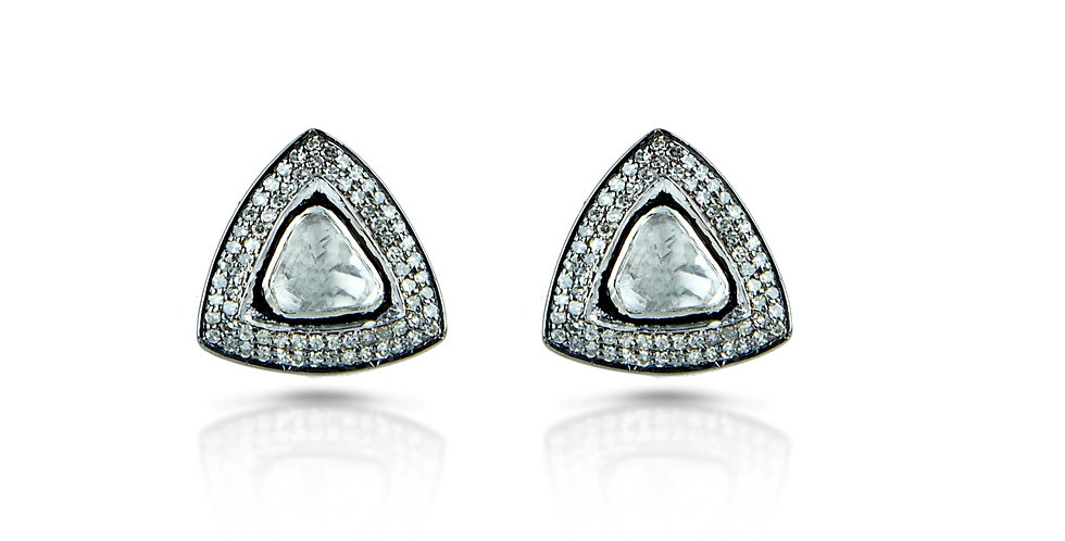 Diamond Polki Triangular Stud Earrings