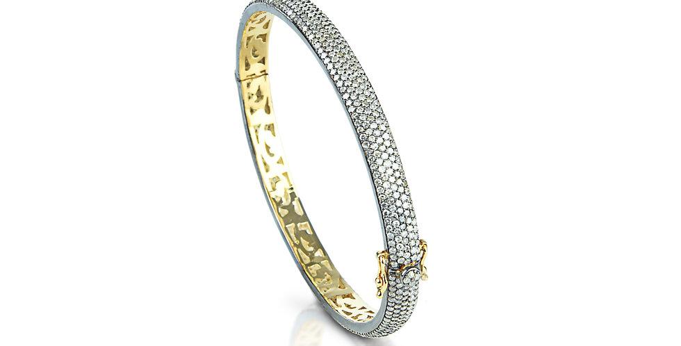 Gold & Single-Cut Diamond Hinged Bangle