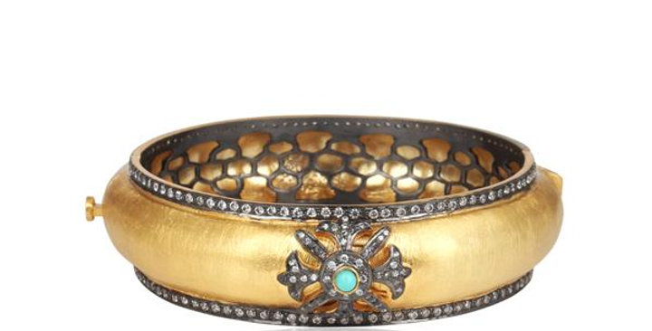 Sterling Silver Cuff Bracelet with Turquoise, Zirconia, & Gold Plating