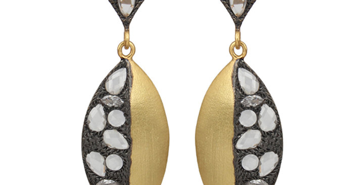 Sterling Silver Yin Yang Earrings with Cubic Zirconia & Gold Plating