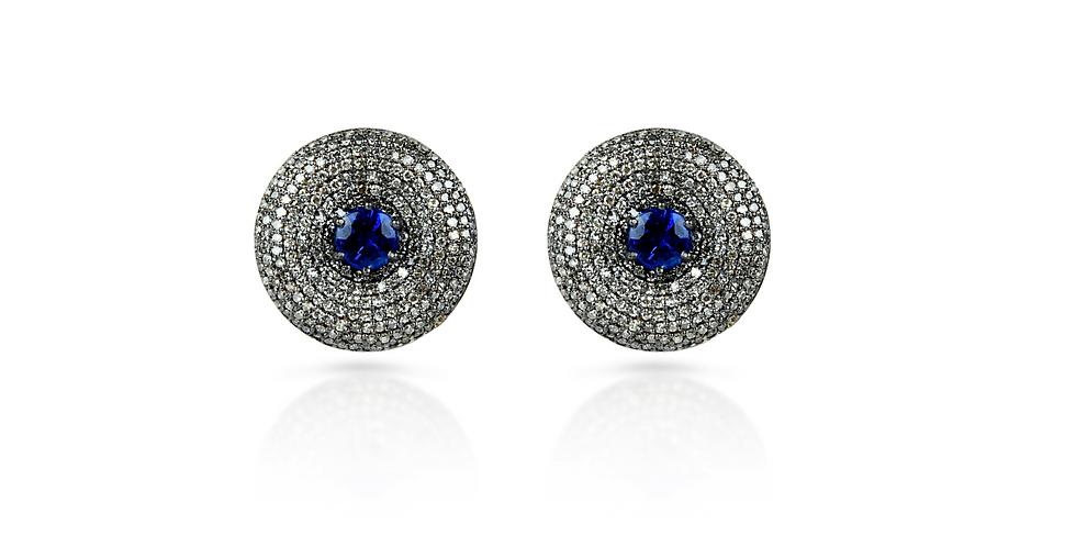 Art Deco Diamond & Kyanite Heart Studs in 18K Gold & Sterling Silver