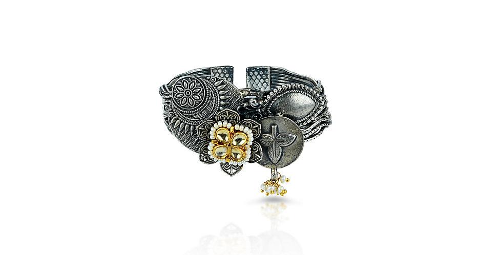 Sterling Silver Enameled Cuff Bracelet with Gemstones & Gold Plating