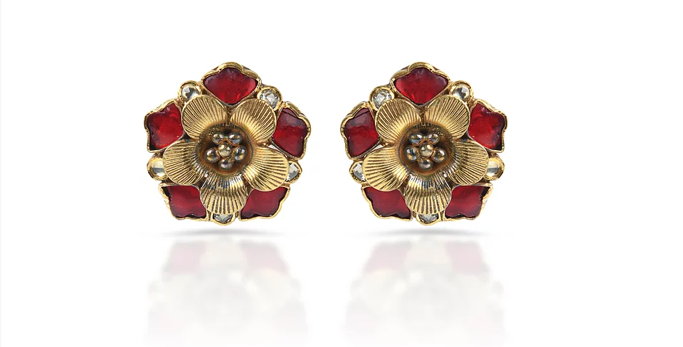 Sterling Silver Rose Earrings with Gemstones & Gold Plating