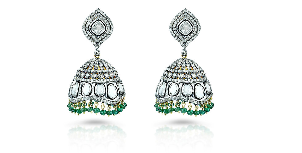 Diamond and Emerald Chandelier Jhumkis in 18K Gold & Sterling Silver