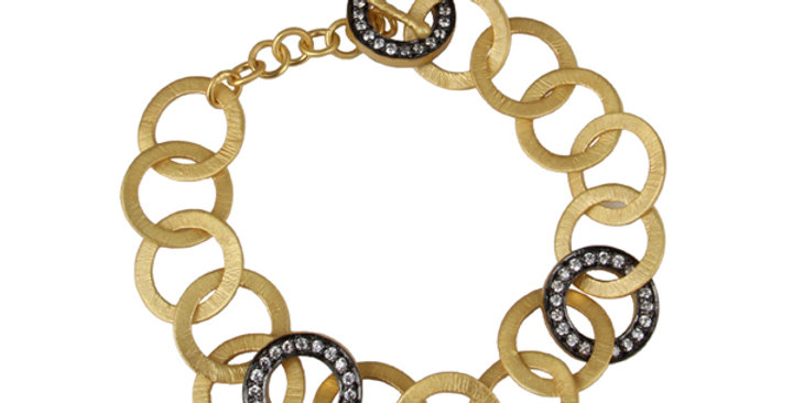 Sterling Silver Ring Bracelet with Cubic Zirconia & Gold Plating