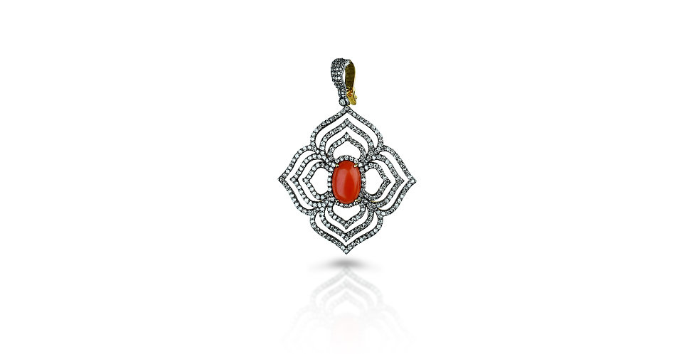 Art Deco Diamond Pendant with Red Coral in 18K Gold & Sterling Silver