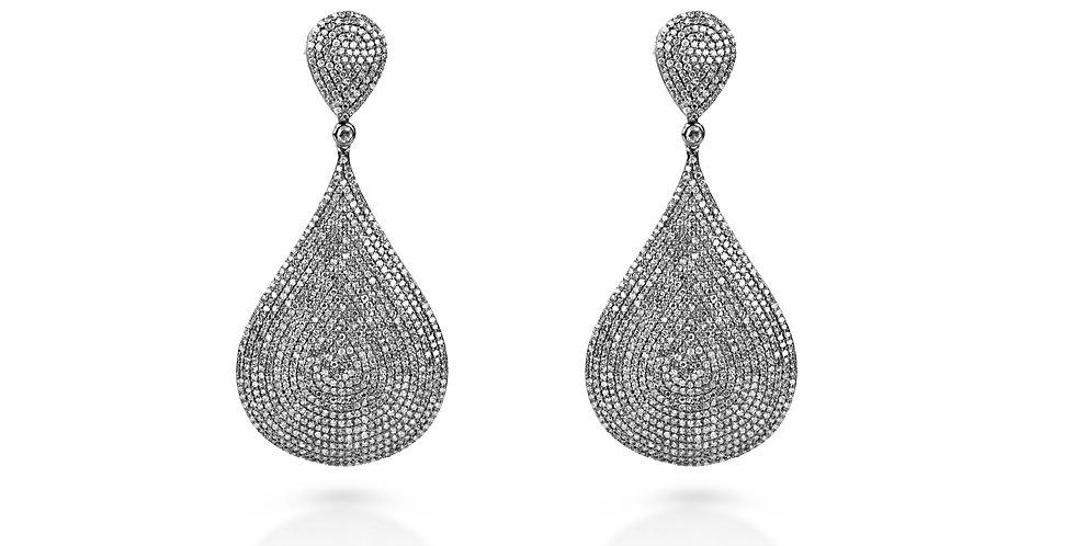 Art Deco Black Diamond Chandelier Earrings in 18K Gold & Sterling Silver