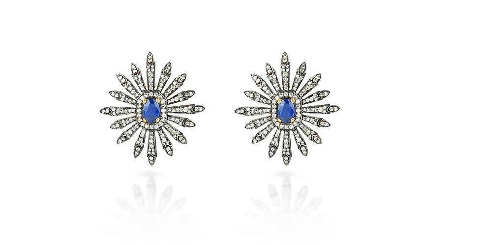 Art Deco Single Cut Diamond Sapphire Earrings in 18K Gold & Sterling Silver