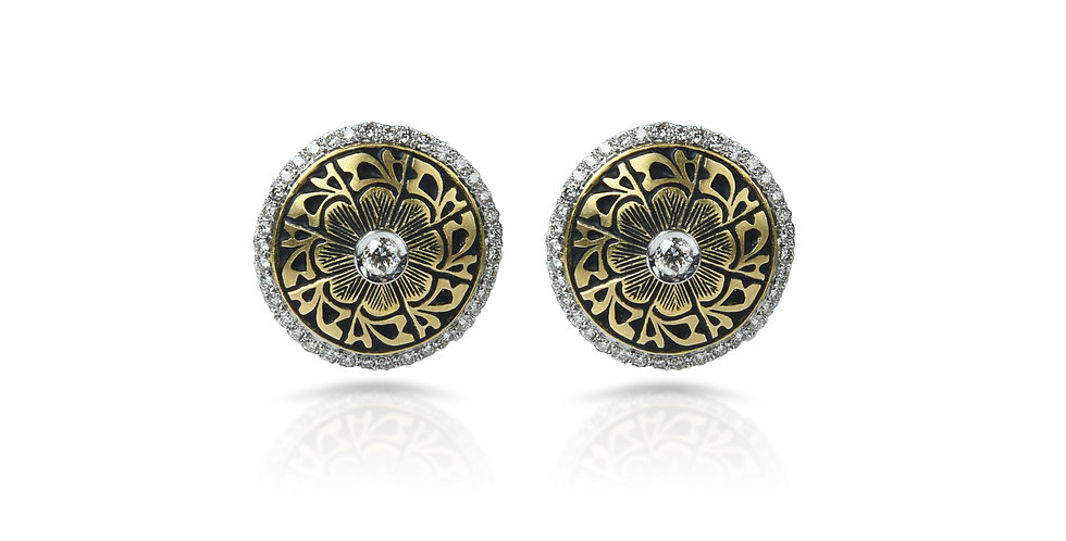 Diamonds & Black Enamel Flower Heart Earrings in 18K Gold