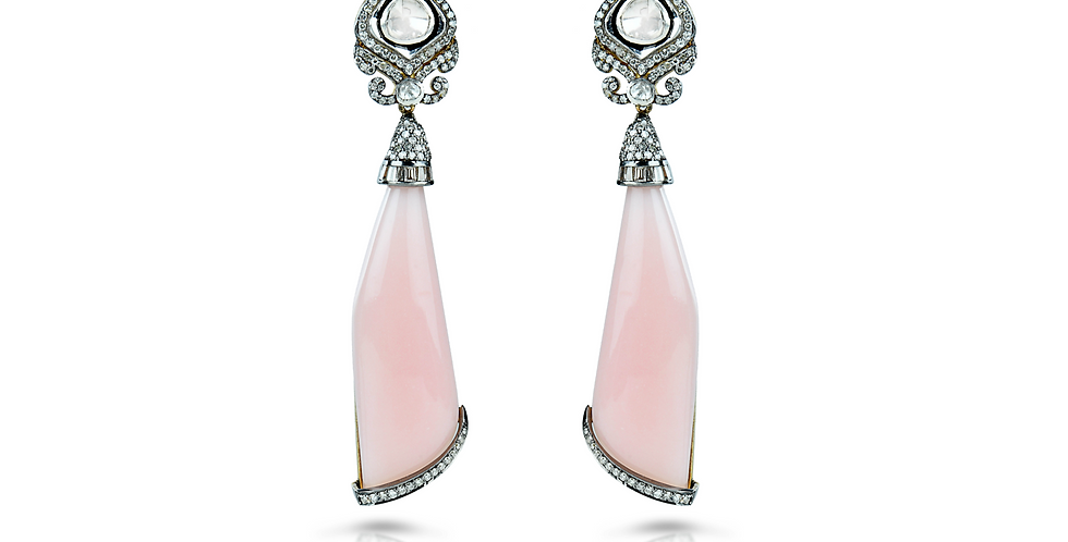 Art Deco Pink Opal & Diamond Danglng Earrings in Gold & Silver