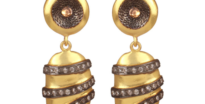 Sterling Silver Gold Plated Earrings Wrapped with Cubic Zirconia