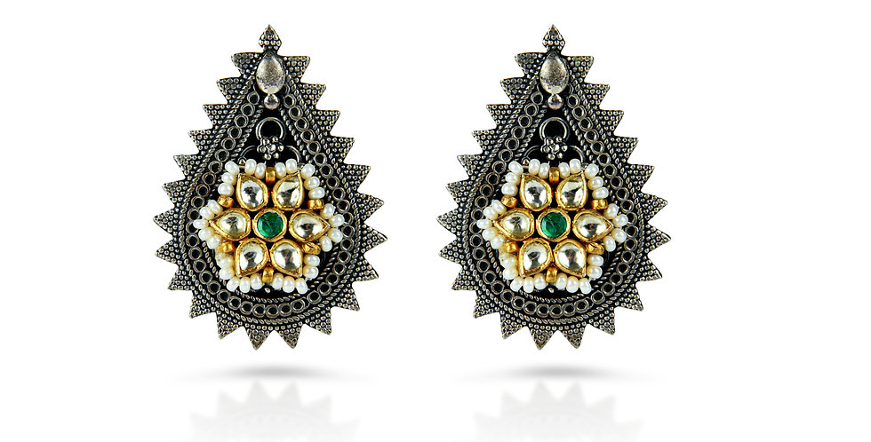 Sterling Silver Enameled Earrings with Gold Plating