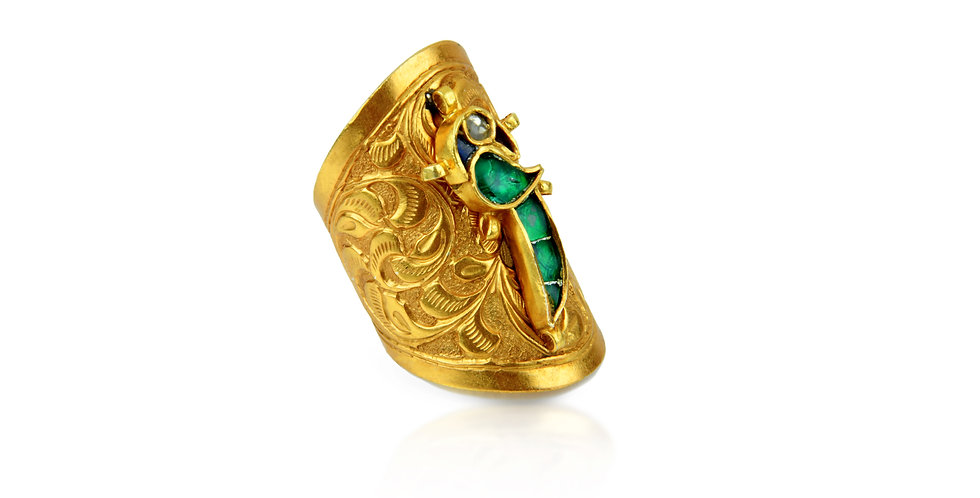 Sterling Silver Parrot Ring with Enameling & Gold Plating