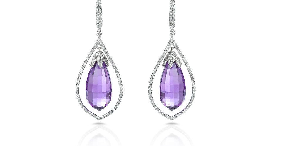 Amethyst & Diamonds Drop Earrings in 18K White Gold