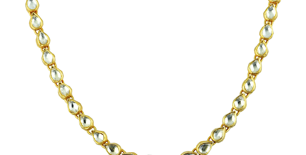 Sterling Silver Polki Style Necklace with Gold Plating