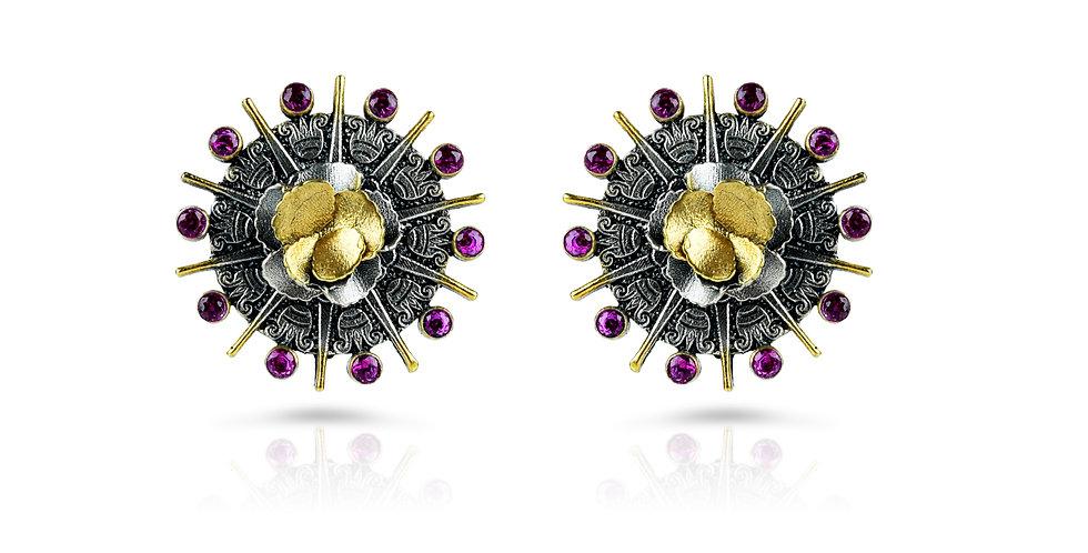 Stering Silver Galaxy Stud Earrings with Semi-Precious Gemstones