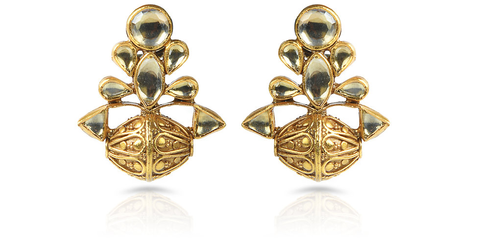 Sterling Silver Dhol Earrings with Gold Plating