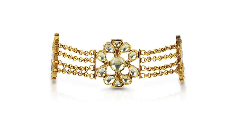 Sterling Silver Floret Cuff Bracelet with Gemstones & Gold Plating