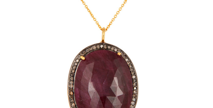 Oval Ruby and Diamond Necklace in Sterling Silver & Gold Plating