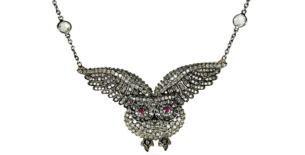 Diamonds and Ruby Owl Pendant in 18K Gold & Sterling Silver