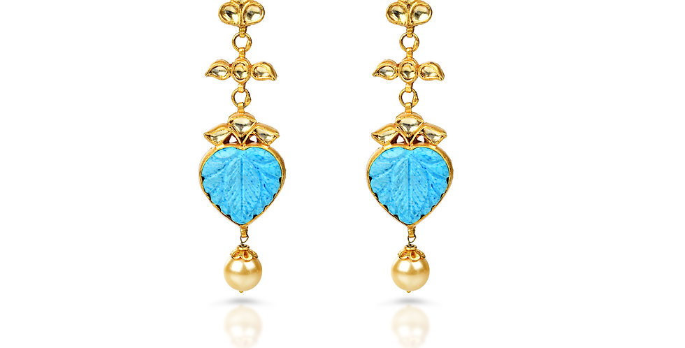 Carved Turquoise Earrings in Sterling Silver & Gold Plating