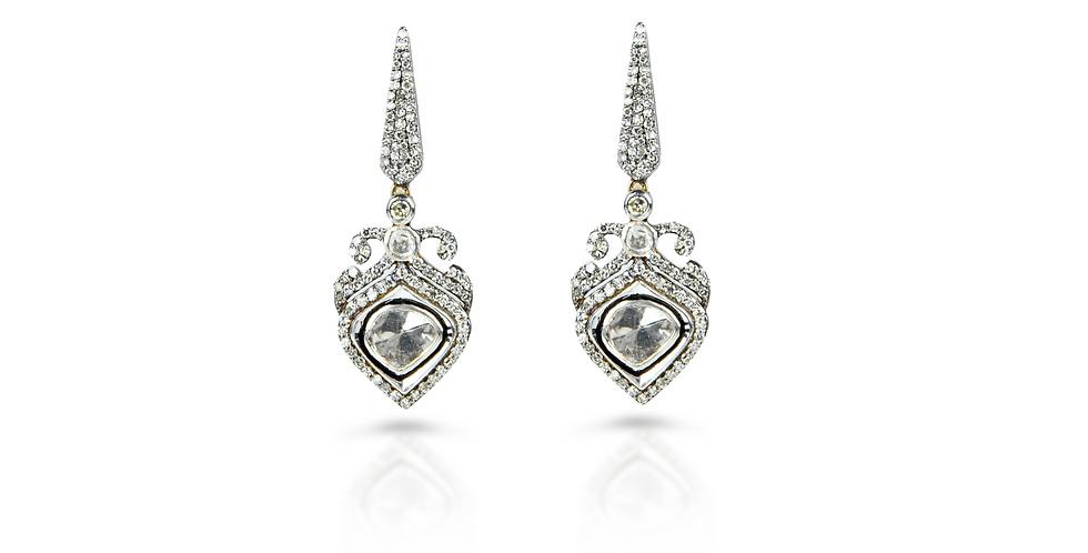 Art Deco Diamond (Polki) Drop Earrings in 18K Gold & Sterling Silver