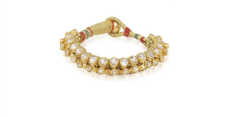Diamond (Polki) Cuff Paunchi in 18K Gold