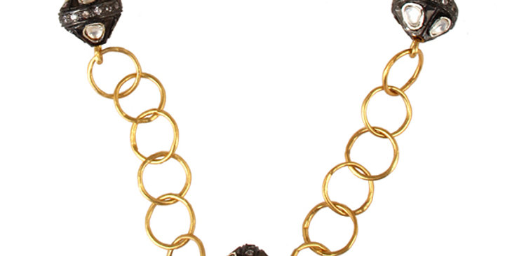 Stering Silver Ring Necklace with ZIrconia & Gold Plating