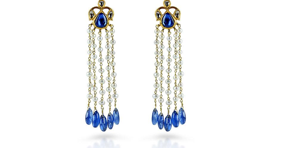 Kyanite Diamond Polki Chandelier Earrings