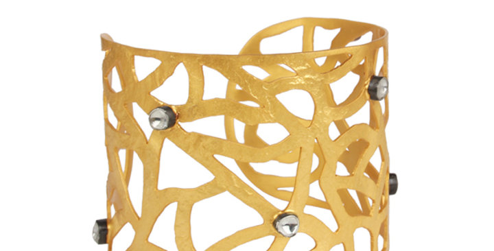 Sterling Silver Filigree Cuff Bracelet with Zirconia & Gold Plating