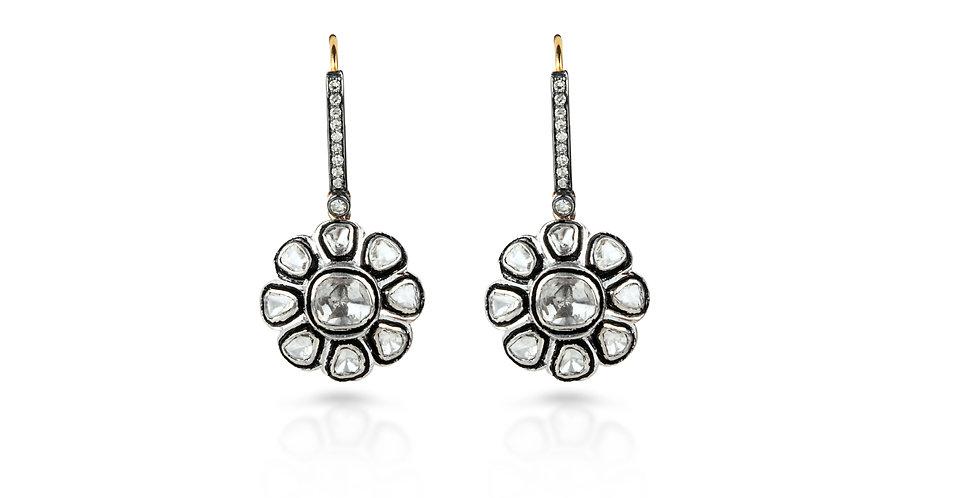Art Deco Diamond Flower Drop Earrings in 18K Gold & Sterling Silver