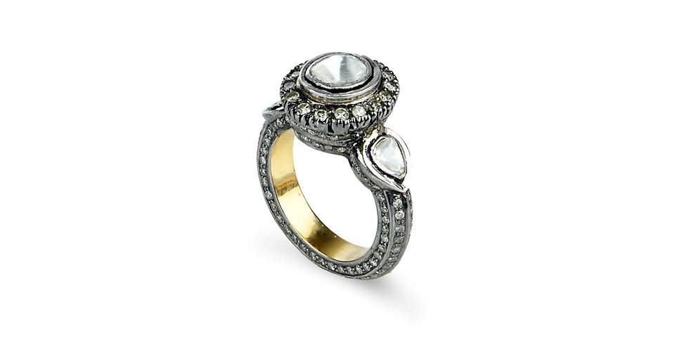 Art Deco Diamond Moon and Stars Ring in 18K Gold & Sterling Silver