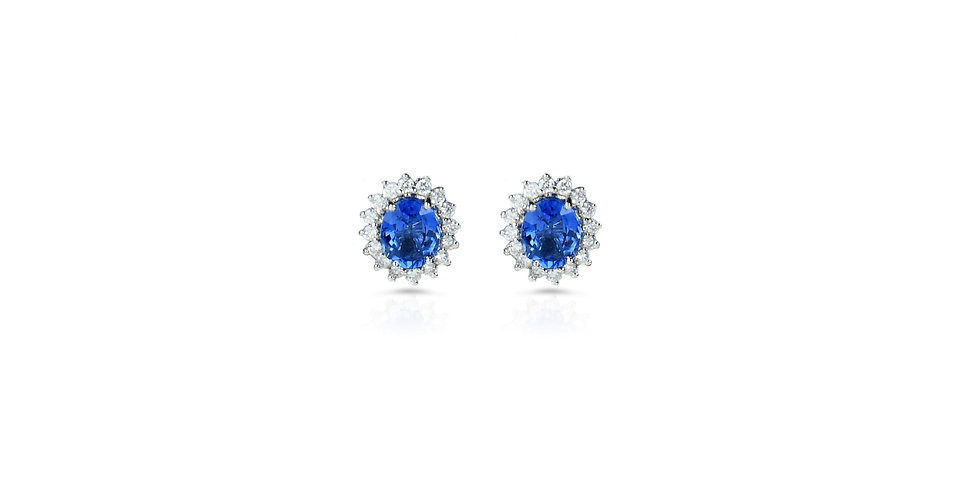 Diamond and Sapphire Stud Earrings in 18K Gold