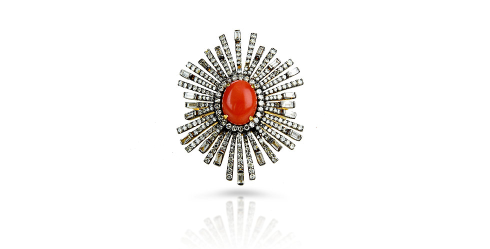 Art Deco Diamond & Heart of Coral Ring in 18K Gold & Sterling Silver