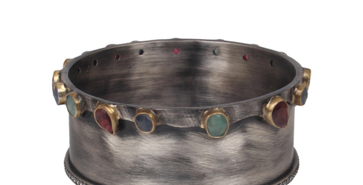 Sterling Silver Enameled Cuff with Onyx, Zirconia, & Gold Plating