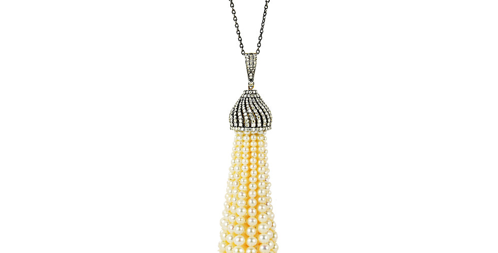 Art Deco Diamond & Pearl Tassel Necklace I in 18K Gold & Sterling Silver