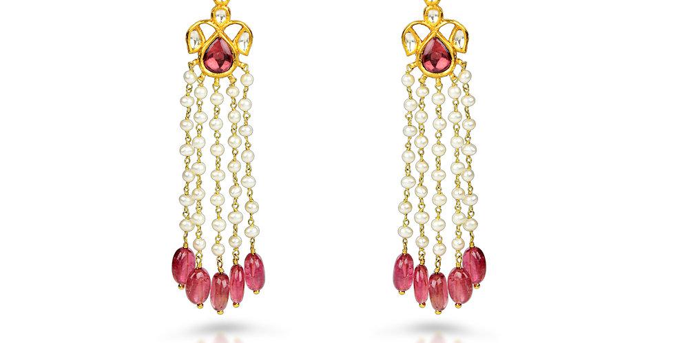Diamond (Polki), Tourmaline, Pearl Chandelier Earrings in 18K Gold