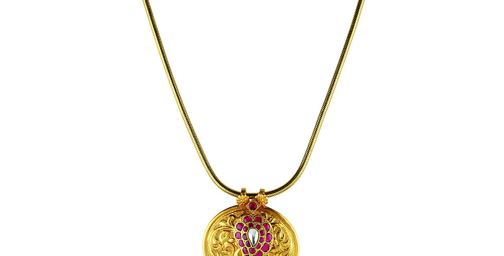 Sterling Silver Necklace with Embossing, Gemstones & Gold Plating