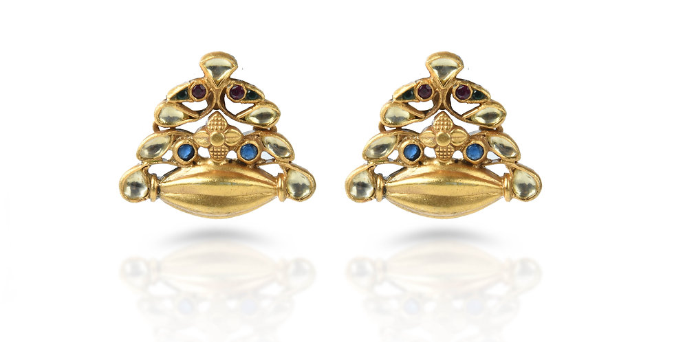 Sterling Silver Drum Earrings with Turquoise & Gold Plating