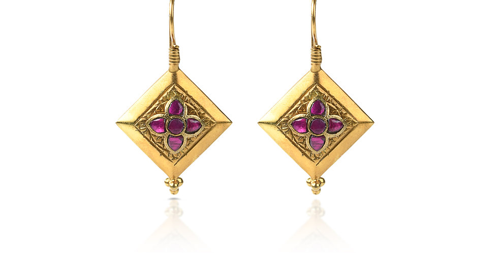Sterling Silver Earrings with Gemstones & Gold Plating