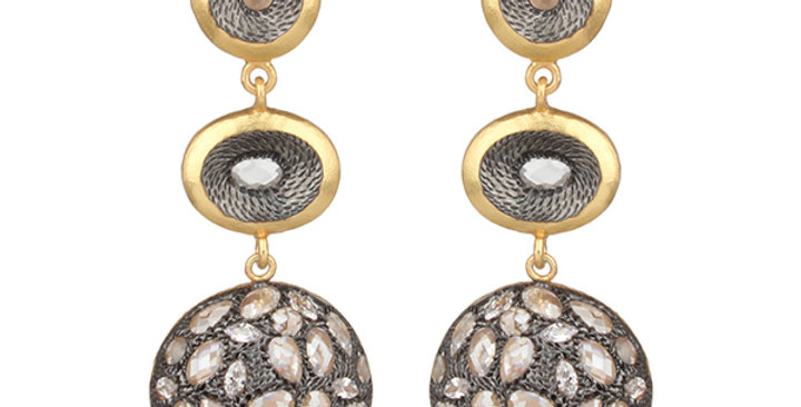 Sterling Silver Gold Plated Earrings with Cubic Zirconia Balls