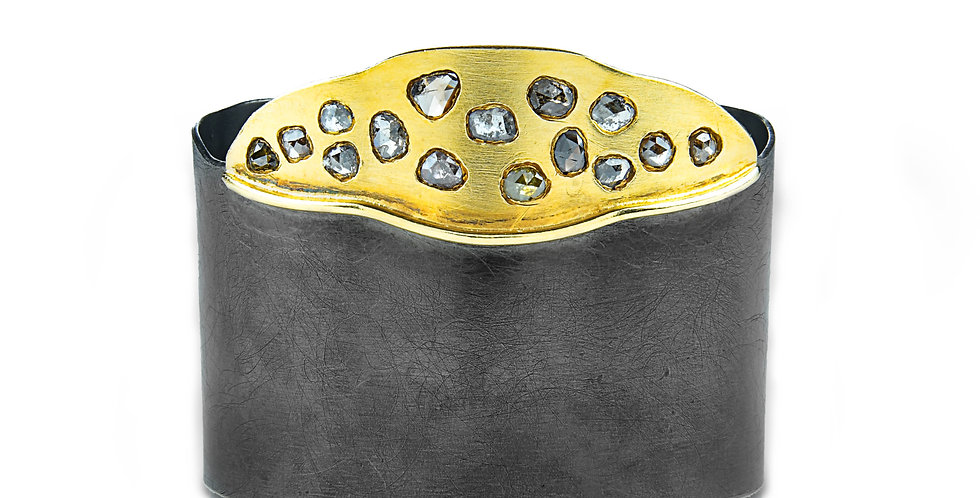 Sterling Silver Enameled Cuff with Cubic Zirconia & Gold Plating