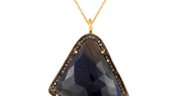 Sapphire and Diamond Pendant in Sterling Silver & Gold Plating
